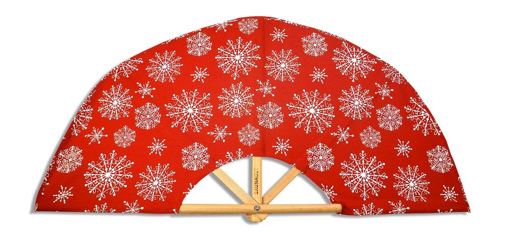 SAUNAGUT®-Aufgussfächer-Weihnachten-Schneeflocken-rot