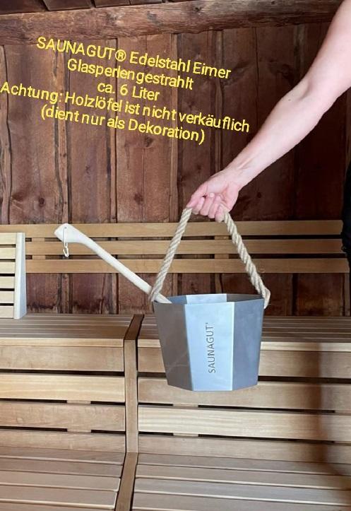 SAUNAGUT®  Edelstein-Eimer Glasperlengestrahlt Ca. 6 Liter